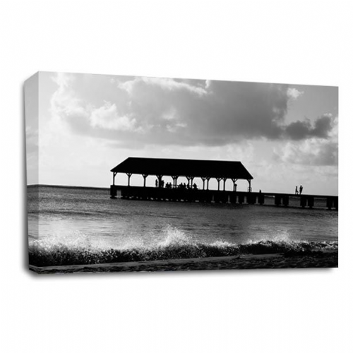 Sunset Seascape Wall Art Picture Grey Pier Seaside Waves Print